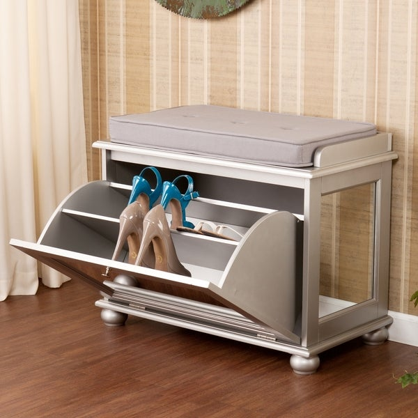 Upton Home York Silver Mirrored Storage Shoe Bench Bar