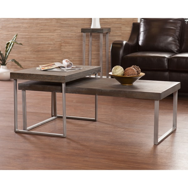 Nesting Cocktail Coffee Table 2 Pc Set Furniture Modern Sofa End Mid