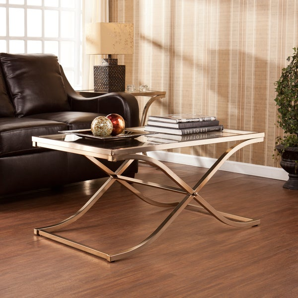 Upton Home Ambrosia Champagne Brass Cocktail/ Coffee Table