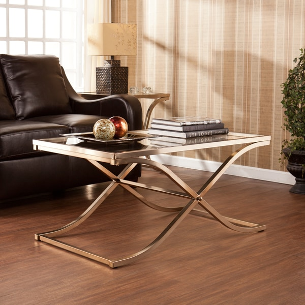 Upton home ambrosia champagne brass cocktail coffee table for Coffee tables overstock