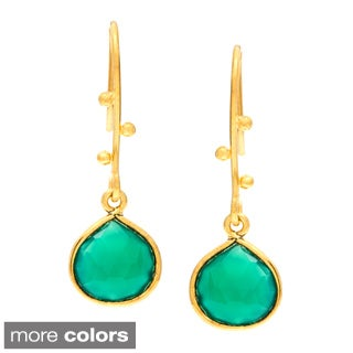 Sitara Handmade Gold-Plated Onyx Earrings (India)