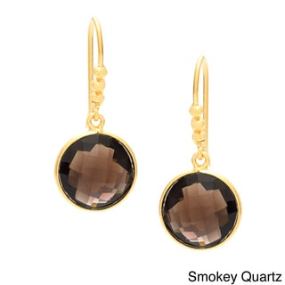 Sitara Handmade Goldplated Quartz and Onyx Earrings (India)