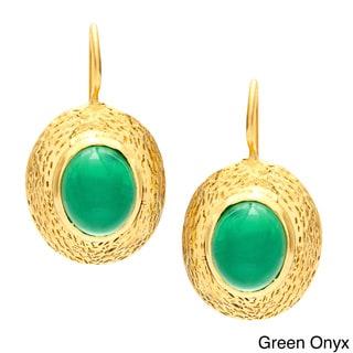 Sitara Handmade Goldplated Onyx and Coral Earrings (India)