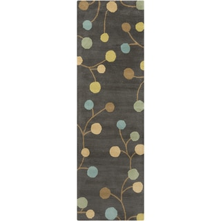 Hand tufted Cain Floral Wool Pewter Area Rug (3' x 12')