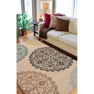 Hand-tufted Beige Wool Transitional Proton Rug (5'x7')