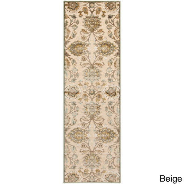 Hand-woven Traditional Beige/Brown Floral Durban Rug (2'6