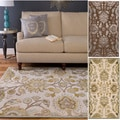 Hand-woven Traditional Beige/Brown Floral Durban Rug (4' x 5'7)