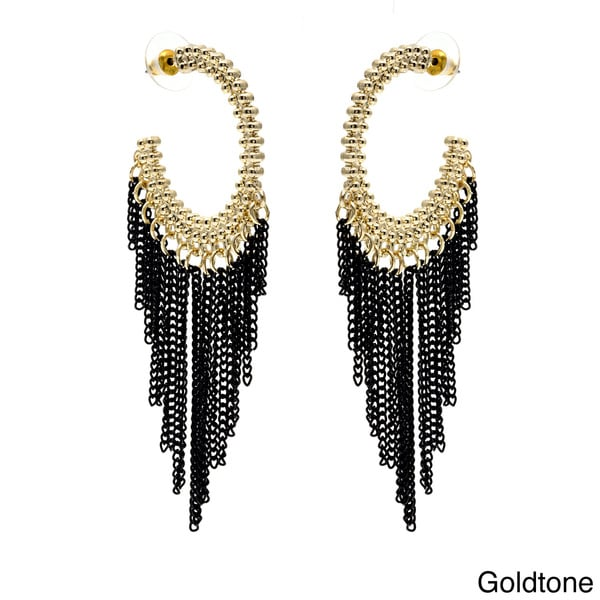 Alexa Starr Goldtone or Silvertone Black Chain Tassel Hoop Earrings