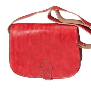 Handmade Leather Rabat Red Cross-body Bag (Morocco)