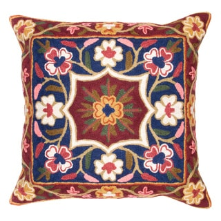 Chain Stitch Embroidery Flower Burst Kashmir Cushion Cover