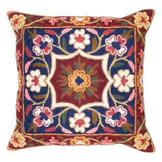 Chain Stitch Embroidery Flower Burst Kashmir Cushion Cover