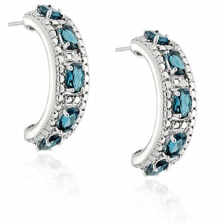 Dolce Giavonna 18k Gold Overlay London Blue Topaz and Diamond Accent Earrings