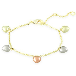 Molly and Emma 18k Gold Overlay Children's Heart Charm Bracelet