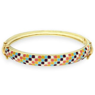 Molly and Emma 18k Gold Overlay Children's Enamel Checkered Bangle