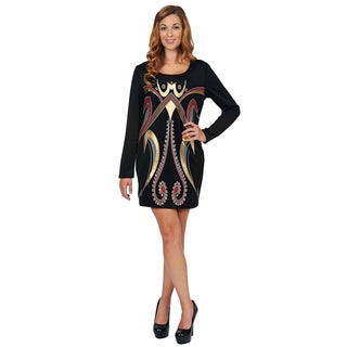 Bacci Women's Metallic Print Long Sleeve Dress