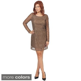 Bacci Women's Embellished Shift Lace Dress