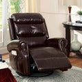 Furniture of America Gardena Bonded Leather Swivel Gliding Recliner Chair
