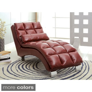 Furniture of America Contemporary Halcyon Tufted Leatherette Lounging Chaise