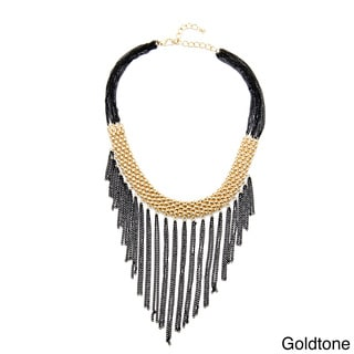 Alexa Starr Goldtone or Silvertone Black Chain Bib Mesh Necklace