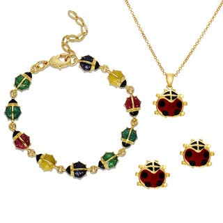 Molly and Emma 18k Gold Overlay Children's Enamel Lady Bug Jewelry Set