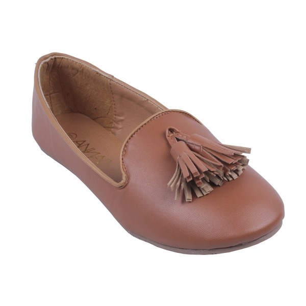 Anna by Beston Women's 'Lily' Camel Loafer Smoking Flats