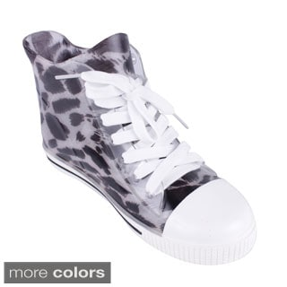 Qupid Mohawk Women's Jelly Leopard Lace Up Sneakers