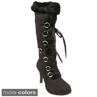 Funtasma Hunter Heel Fur Trim Knee Boot