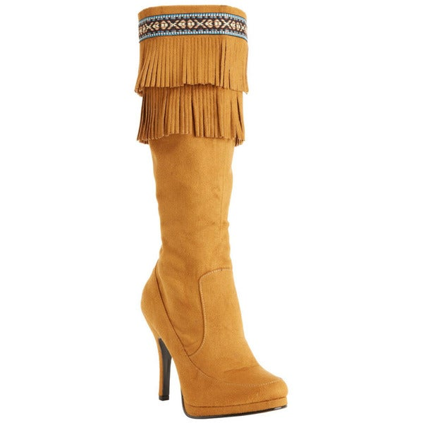 Funtasma Women's 'Indian-290' Tan Knee-high Fringe Cuff Boots