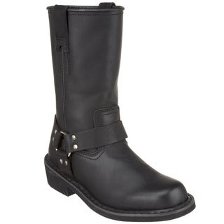 Demonia Men's Black Leather Mid-calf Harness Boots