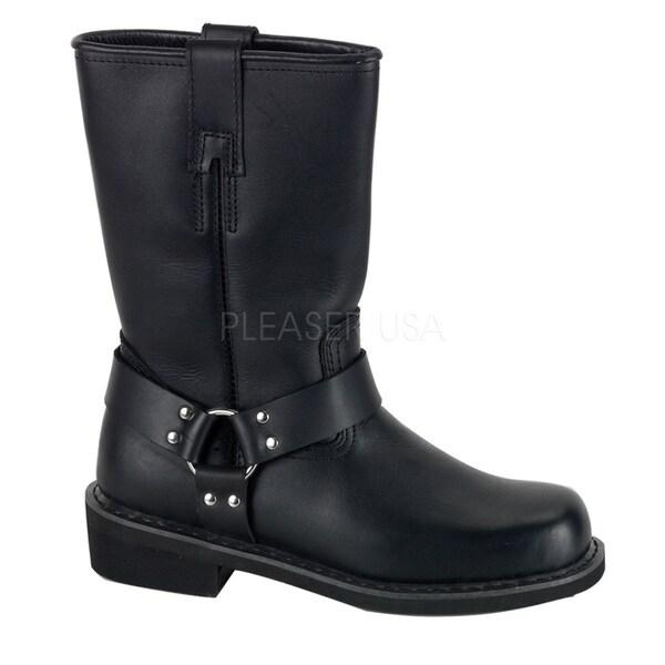Demonia Men's Black Leather Mid-calf Harness Boots