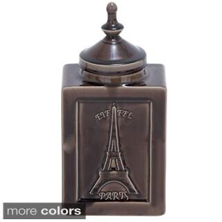 Paris Artisan 14-inch Ceramic Crackled Decorative Accent Jar