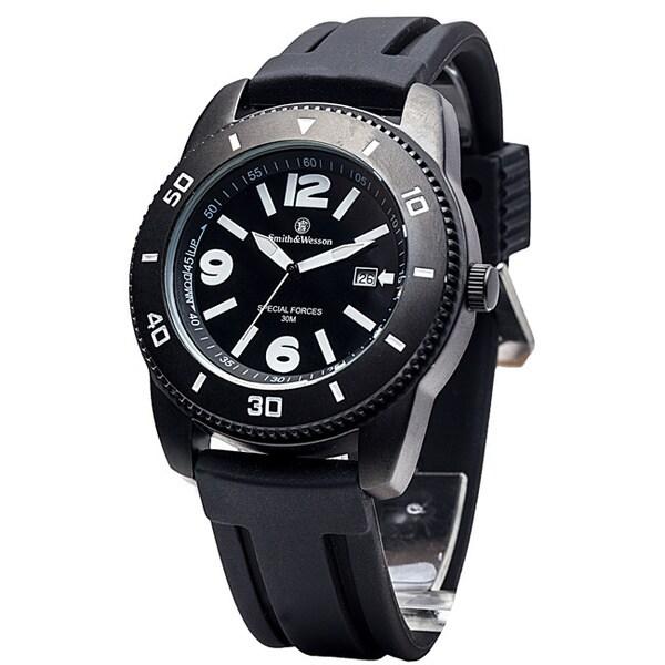 Smith & Wesson Men's Paratrooper Black Rubber Strap Watch