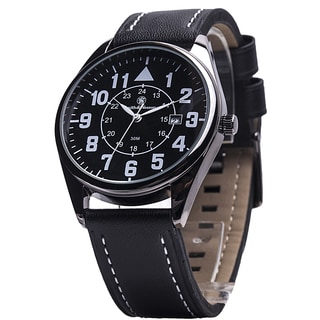 Smith & Wesson Men's The Civilian Black Leather Strap Watch