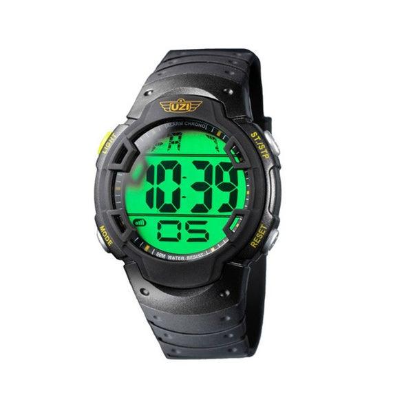 Uzi Men's The Guardian Black Rubber Strap Watch