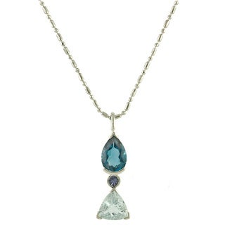 Beverlly Hills Charm Sterling Silver Tanzanite, Aquamarine and Blue Topaz Necklace