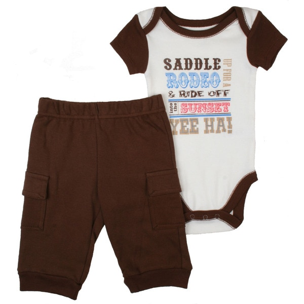 Vitamins Baby Boys Brown Rodeo Coverall Set