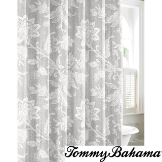 Tommy Bahama Bali Grey Cotton Shower Curtain