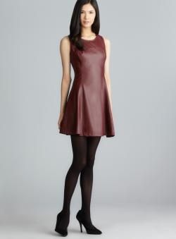 Romeo & Juliet Couture Sleeveless Faux Leather Front Fit & Flare Dress