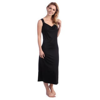 Jones New York Women's Black Microfiber Full-length Gown