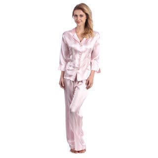 Jones New York Women's Striped Two-piece Satin Pajamas