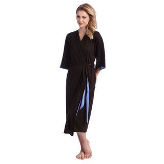 Jones New York Women's Bark/ Blue Double Layer Jersey Robe