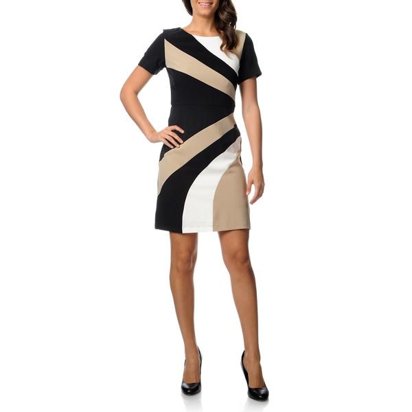 Studio 1 Women's Short Sleeve Mystery Crepe Dress