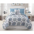 Hayden 5-piece Reversible Blue Quilt Set