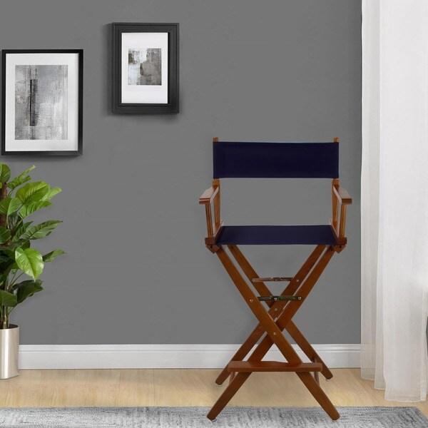 Extra-Wide 30-inch Premium American Oak Bar-height Directors Chair
