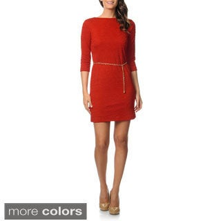 Studio 1 Women's 3/4-sleeve Wavy Knit Dress