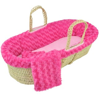 Tadpoles Twisted Fur Fuchsia Moses Basket Set