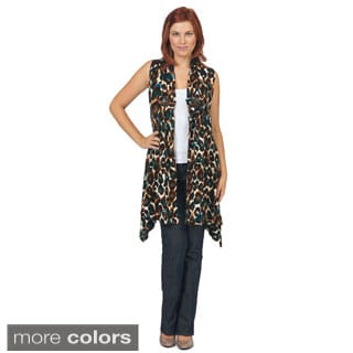 Bacci Women's Animal Print Sleeveless Cardigan