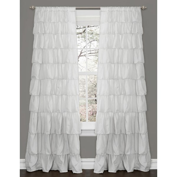 Lush decor ruffle white 84 inch curtain panel 15678546 overstock