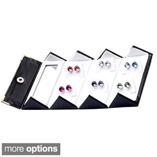 Alexa Starr Stainless Steel Crystal 6-piece Stud Earring Set