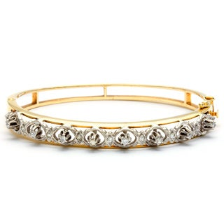 14k Yellow Gold 1/2ct TDW Diamond Antique Estate Bracelet (J-K, SI3)